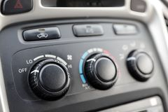 Automobile climate controls on dashboard royalty free stock image