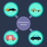 Veicoli autonomi con dentro un cerchio illustrazione vettoriale