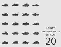 Veicoli da combattimento della fanteria messi delle icone piane Illustrazione di vettore Royalty Illustrazione gratis