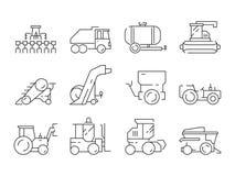 Veicoli dell'azienda agricola Icone di vettore di agricoltura della costruzione del macchinario pesante del villaggio del buldoze illustrazione vettoriale