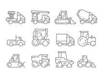 Veicoli della costruzione Macchinario pesante per i camion dei costruttori che di sollevamento i simboli lineari di vettore del b illustrazione vettoriale