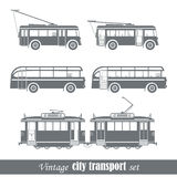 Veicoli di trasporto della città dell'annata Fotografia Stock