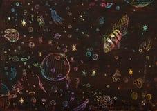 Veicoli e asteroidi nello spazio scuro Fotografie Stock