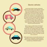 Veicoli elettrici infographic con dentro un cerchio Fotografia Stock
