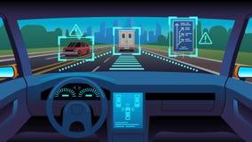 Veicolo autonomo futuro Strada autonoma futuristica interna del sistema gps del sensore del pilota automatico dell'automobile Dri illustrazione vettoriale