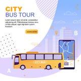 Veicolo del bus della città con l'itinerario sull'applicazione della mappa illustrazione di stock