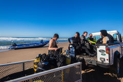 Veicolo dell'attrezzatura 4x4 dei subaquei Fotografia Stock Libera da Diritti