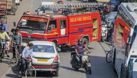 Veicolo di corpo nazionale dei vigili del fuoco di Delhi, Delhi, India Fotografia Stock Libera da Diritti