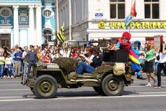 Veicolo di esercito Willys, San Pietroburgo, Russia (carnevale) fotografia stock libera da diritti