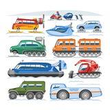 Veicolo di inverno di vettore del camion della neve o insieme nevoso snowmobiling e di trasporto del trasporto dell'illustrazione illustrazione vettoriale