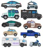 Veicolo di politica di vettore del volante della polizia e motocicletta o motociclo dell'insieme dell'illustrazione del poliziott illustrazione vettoriale
