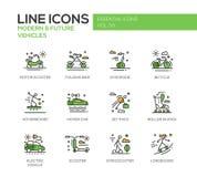 Veicolo moderno e futuro - linea icone di progettazione messe royalty illustrazione gratis