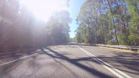 Veicolo POV, movente lungo la strada alta della sommità di Mt, Adelaide Hills South Australia Fotografie Stock Libere da Diritti