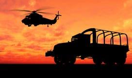 Veicolo sopra il tramonto Fotografia Stock Libera da Diritti