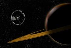 Veicolo spaziale che vola a Saturn nello spazio cosmico royalty illustrazione gratis
