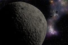 Veicolo spaziale che vola vicino al pianeta sconosciuto Esplorazione spaziale illustrazione di stock