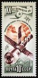 Veicolo spaziale di Soyuz e stazione spaziale di Salyut collegata, circa 1977 Immagini Stock