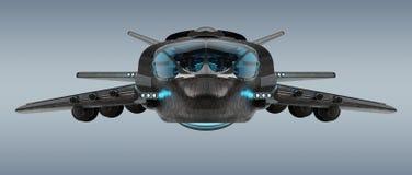 Veicolo spaziale futuristico isolato sulla rappresentazione grigia del fondo 3D illustrazione vettoriale