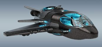 Veicolo spaziale futuristico sulla rappresentazione grigia del fondo 3D illustrazione di stock