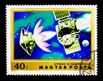 Veicolo spaziale in viaggio a Marte, esplorazione del serie di Marte, circa 197 Fotografia Stock