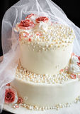 Veil on the cake with roses Stock Images