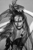 Veil fashion woman art vogue photo red lips Stock Photo