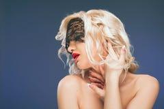 Veil. Lace. Retro Woman Portrait. Stock Photography