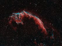 Veil Nebula. Deep exposure of the Orion constellation showing all the celestial gems including M42, The Orion Nebula, The Horsehead Nebula, the `Boogie Man` stock image