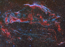 Veil Nebula. Nebula imaged with a telecope and a scientific CCD camera royalty free stock images