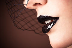 Veil and sensual lips Royalty Free Stock Photos