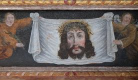 Veil of Veronica. Altarpiece on the main altar in the chapel of St. Wolfgang in Vukovoj, Croatia Royalty Free Stock Photography