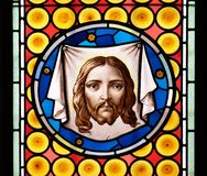 Veil of Veronica. Stained glass window in Basilica of Saint Sylvester the First San Silvestro in Capite in Rome, Italy Royalty Free Stock Image