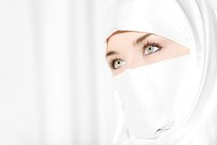 Veiled. Head shot of woman in face veil royalty free stock photos