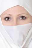 Veiled Brown Eyed Woman Stock Image