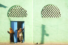Veiled girls by mosque in harar ethiopia Royalty Free Stock Photography