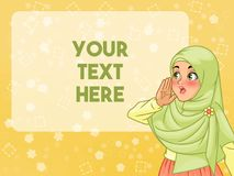 Veiled muslim woman shout using her hands. Veiled young muslim woman shout using her hands, cartoon character design, against yellow background, vector stock illustration