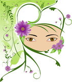 Veiled woman. In white dressing with flower and plants arround Royalty Free Stock Photography