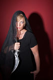 Veiled Woman with Athame Stock Photography