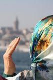 Veiled woman in Istanbul Stock Images