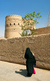 Veiled woman in yazd street in iran Royalty Free Stock Image