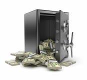 Veilig 3D doos en geld. De financiën van de bescherming Royalty-vrije Stock Foto