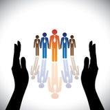 Veilig concept (bescherm) bedrijf collectieve werknemers, stafmedewerkers Stock Afbeeldingen