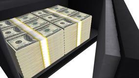 Veilig dooshoogtepunt van Amerikaanse dollarstapels, privé financiële besparingen, geldveiligheid stock fotografie