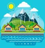 Veilig groen energieconcept in een vlakke stijl Stock Afbeelding