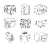 Veilig pictogram, hand getrokken vectorillustratie Stock Fotografie