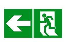 Veilig teken Het uitgangspictogram Geïsoleerd op witte achtergrond Groen pictogram op een witte achtergrond Stock Foto's