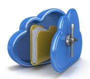 Veilig wolk gegevensverwerkingsconcept en een dossieromslag Stock Foto