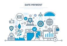 Veilige betaling Methodesbetaling Bescherming van gegevens, betalingen, verrichtingen, financiën royalty-vrije illustratie