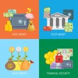 Veilige de banner vectorillustratie van het efinanceconcept Sparen en houd geld, investering en financiële zekerheid Kluis met stock illustratie