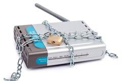 Veilige draadloze router Royalty-vrije Stock Afbeeldingen